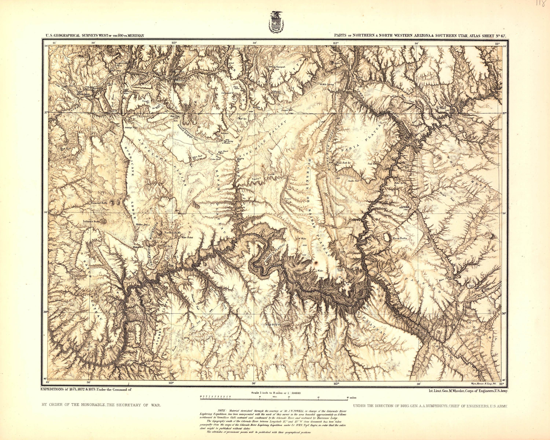 Map Of Arizona 1858.The Grand Canyon