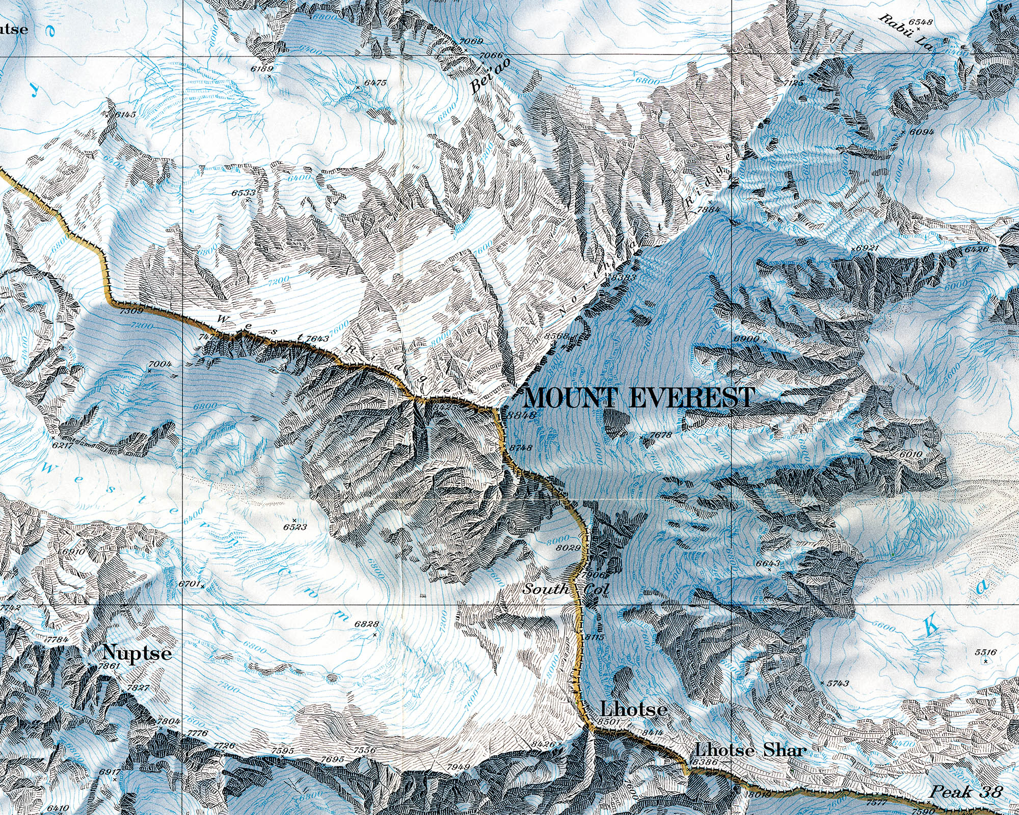 The Henry Washburn Shaded Relief Map of Mount Everest. Completed by ...