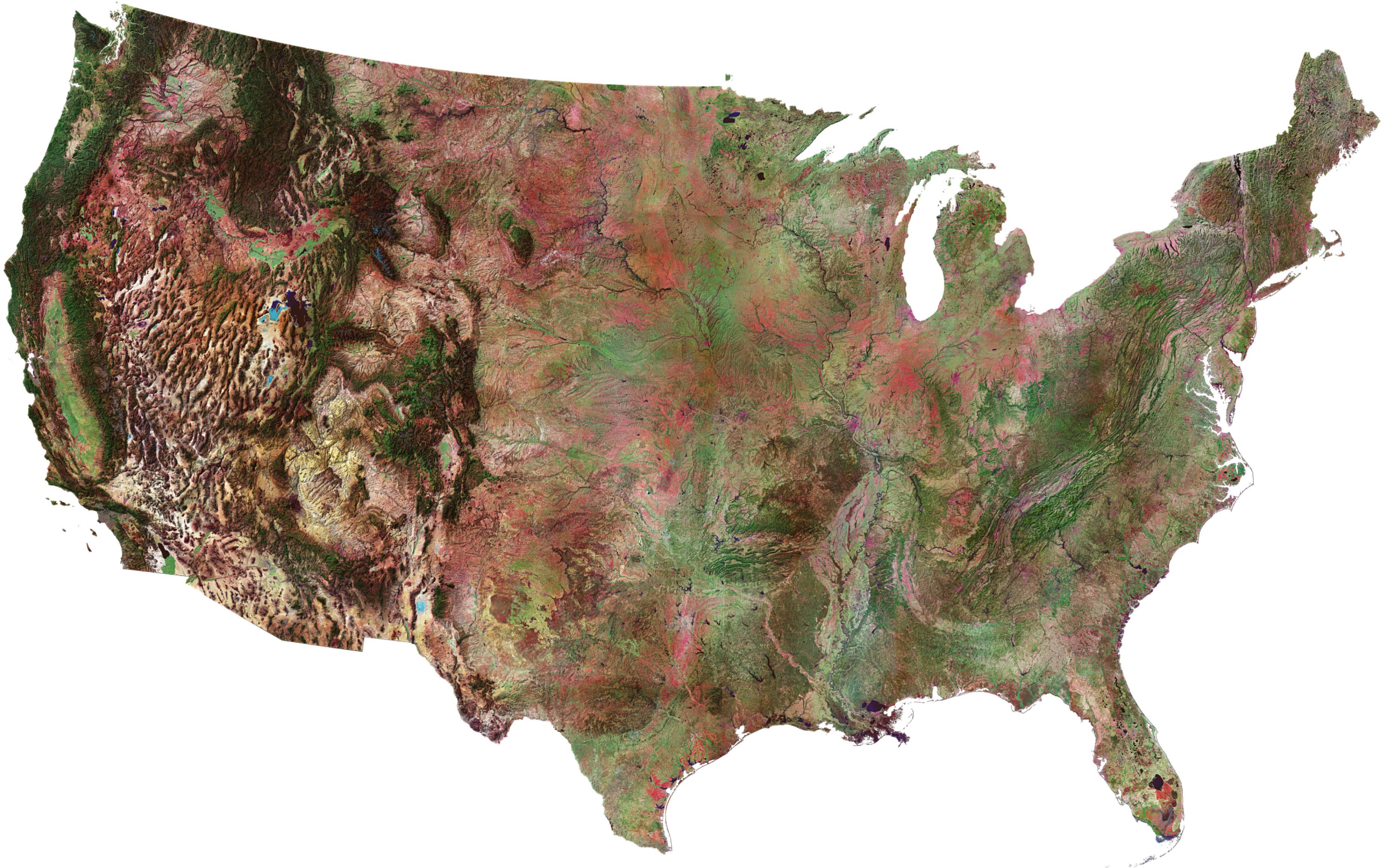Satellite Map Of United States - Satellite map of us