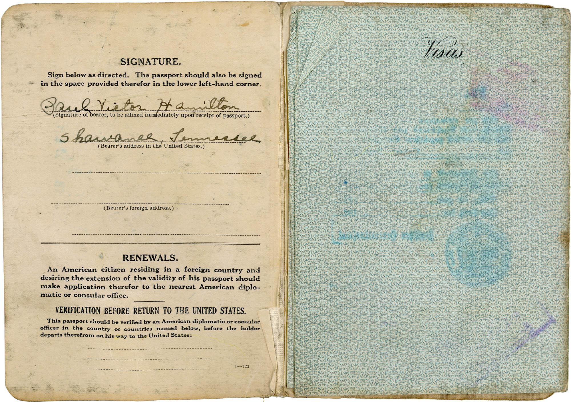 Cover, Paul's Passport Signature Page, Paul's Passport Paul Gets A Passport